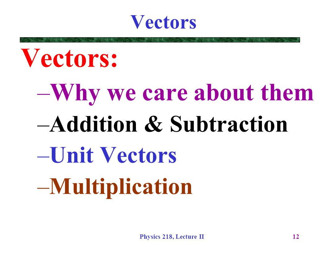 Vectors: Why we care about them Addition & Subtraction Unit Vectors