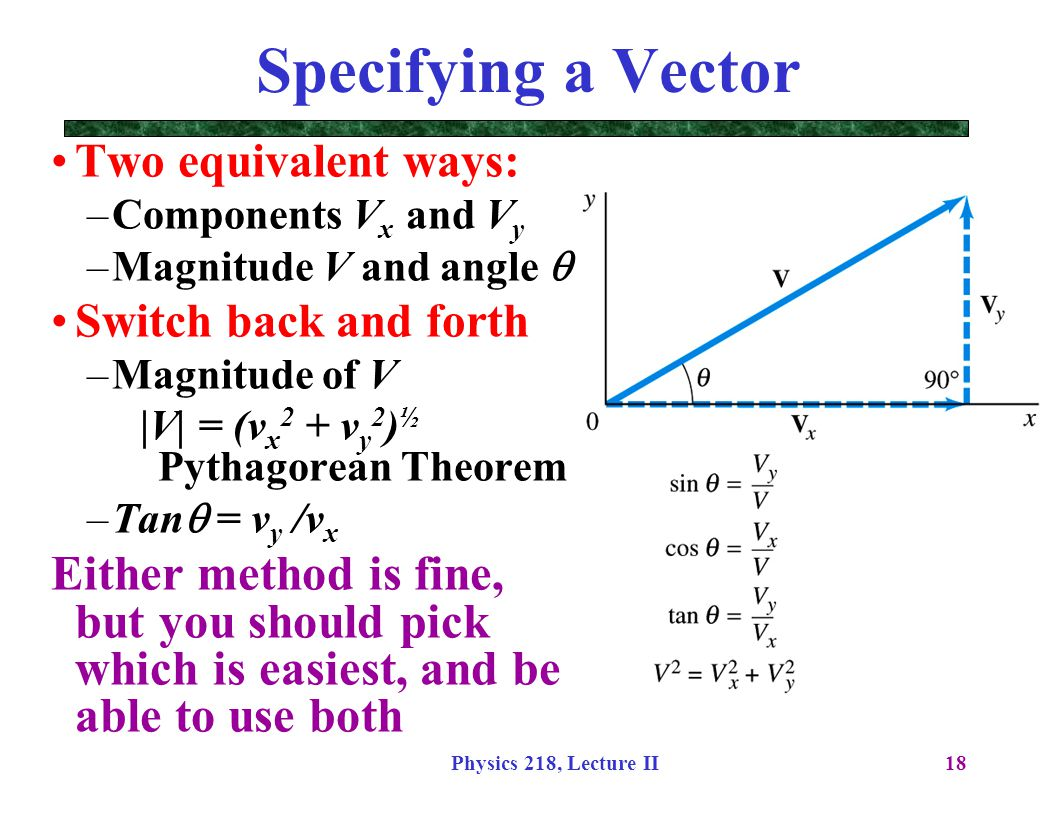 Specifying a Vector Two equivalent ways: Components Vx and Vy. Magnitude V and angle q. Switch back and forth.