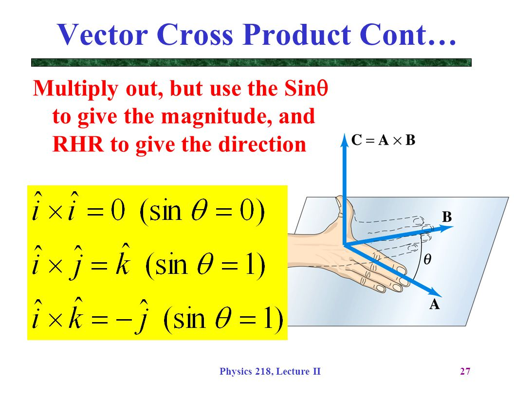 Vector Cross Product Cont…