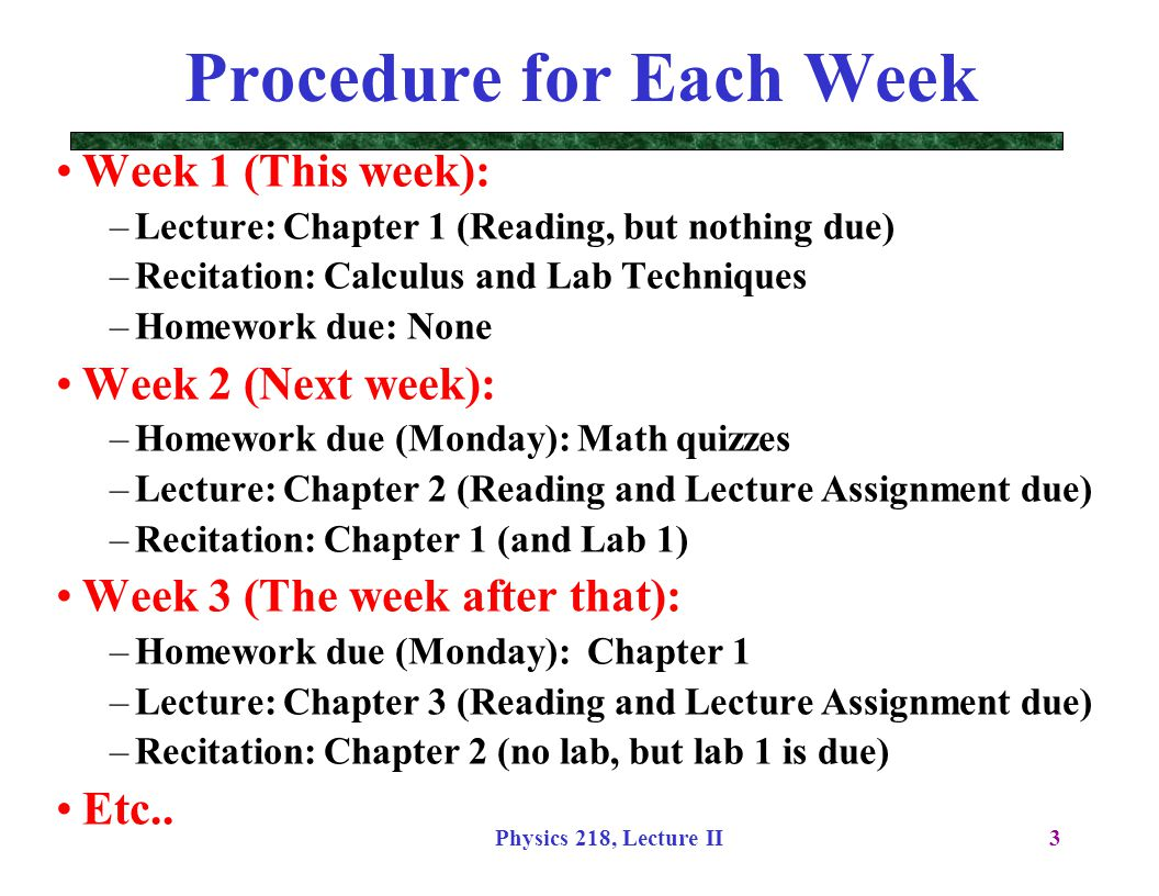 Procedure for Each Week