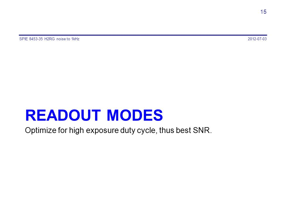 Readout modes Optimize for high exposure duty cycle, thus best SNR.