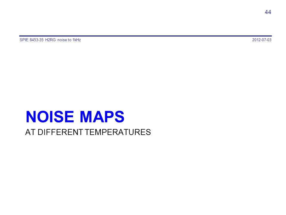 noise MAPS AT DIFFERENT TEMPERATURES SPIE 8453-35 H2RG noise to 1kHz