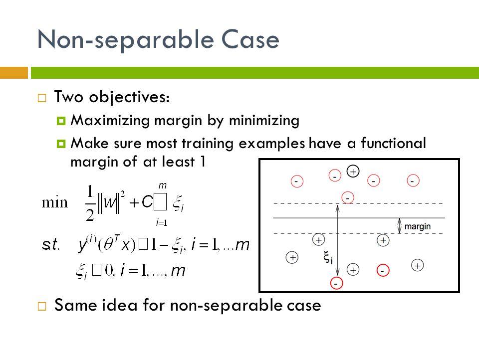 Non-separable Case Two objectives: Same idea for non-separable case