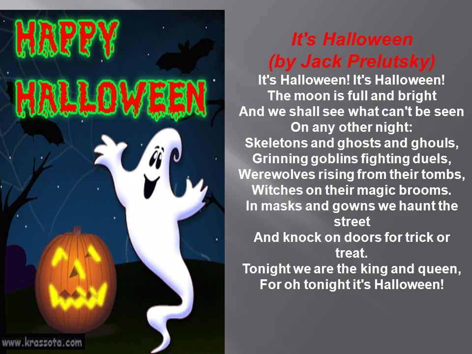 It s Halloween (by Jack Prelutsky)