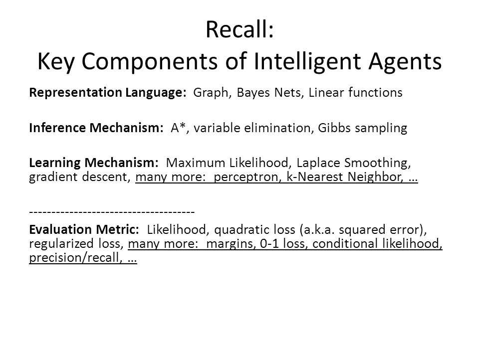 Recall: Key Components of Intelligent Agents