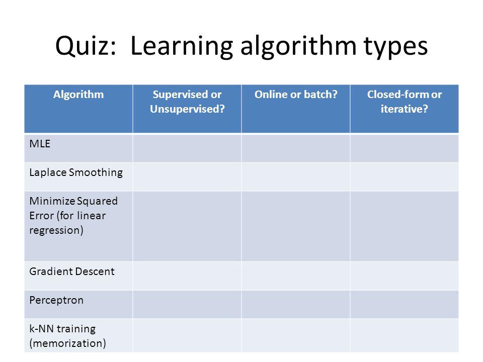 Quiz: Learning algorithm types