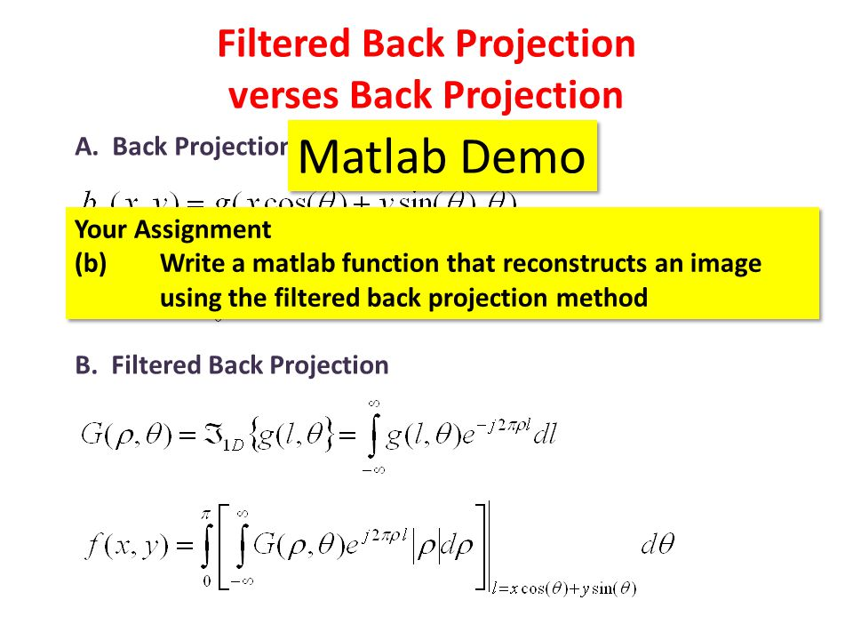 Filtered Back Projection verses Back Projection