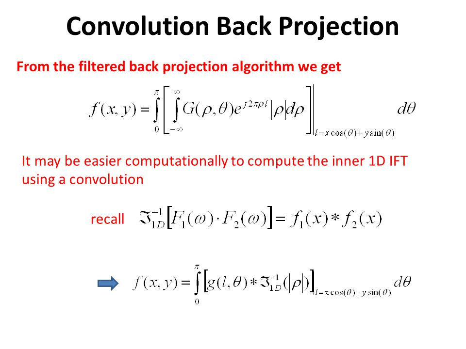 Convolution Back Projection