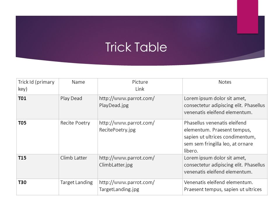 Trick Table Trick Id (primary key) Name Picture Link Notes T01