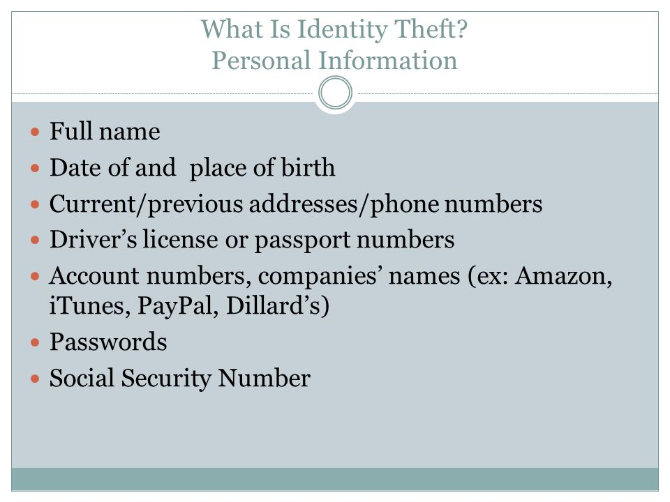 What Is Identity Theft Personal Information
