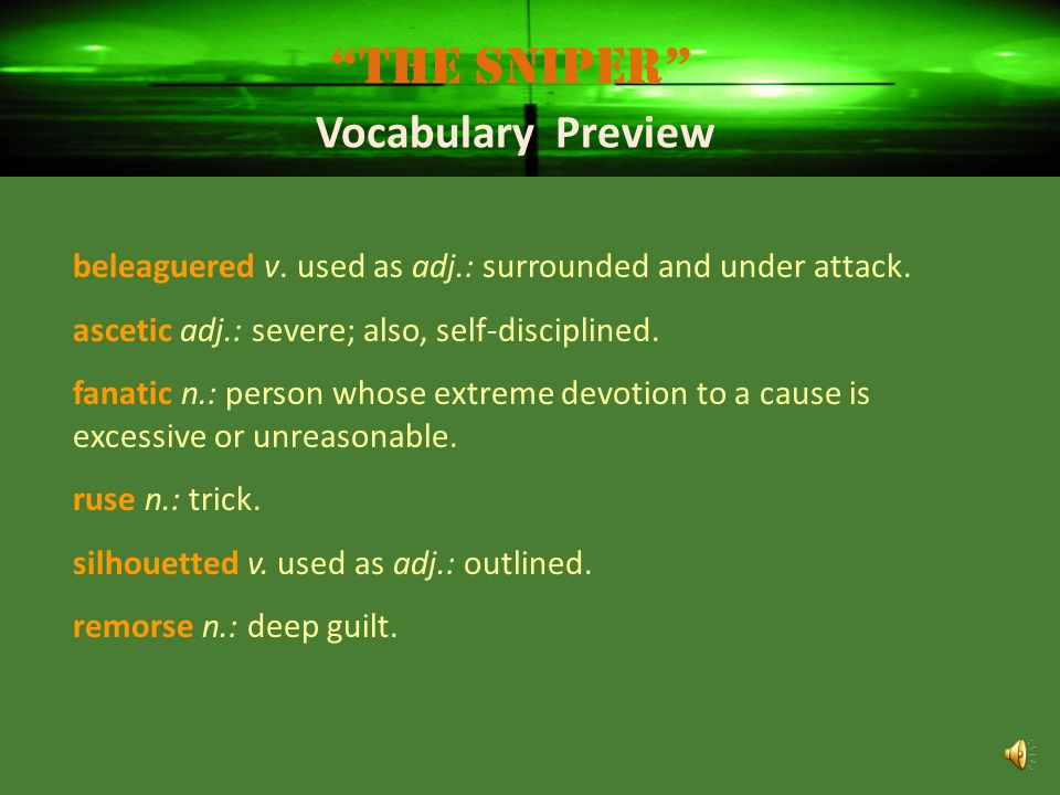 The Sniper Vocabulary Preview
