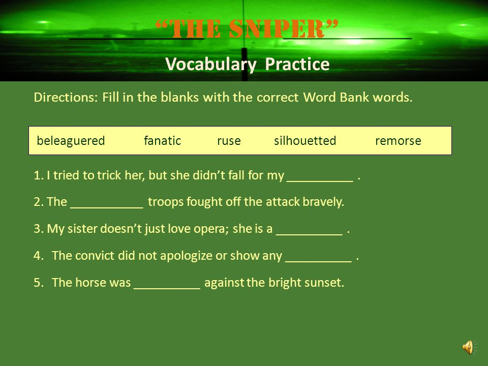 The Sniper Vocabulary Practice