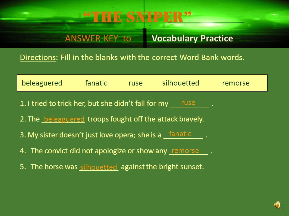 The Sniper ANSWER KEY to Vocabulary Practice