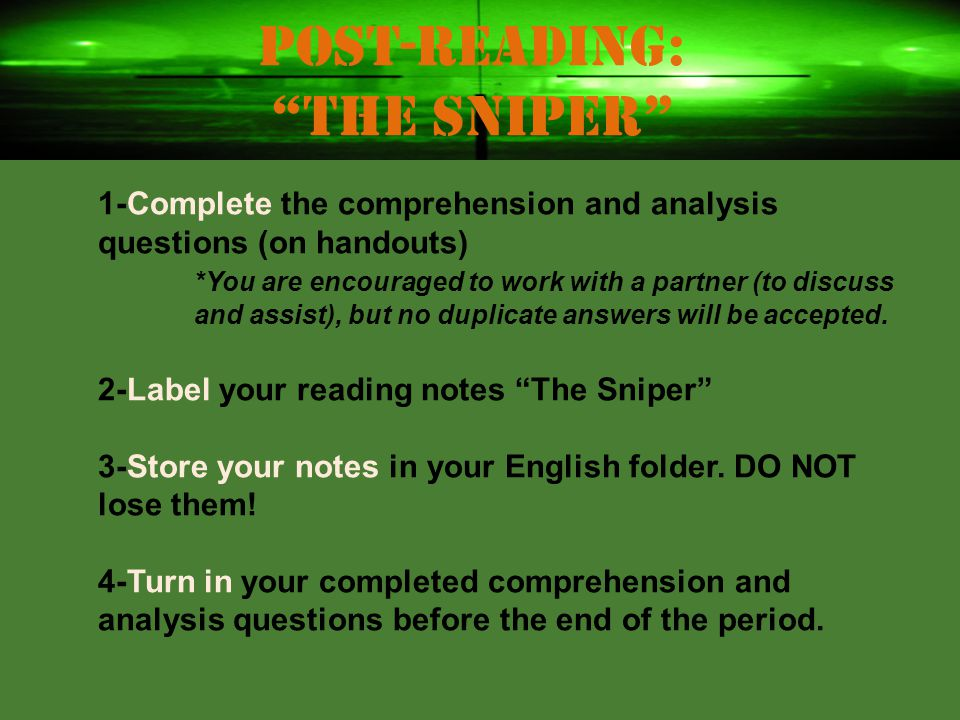 Post-reading: The Sniper