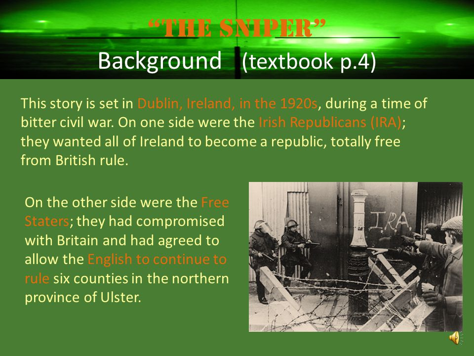 The Sniper Background (textbook p.4)