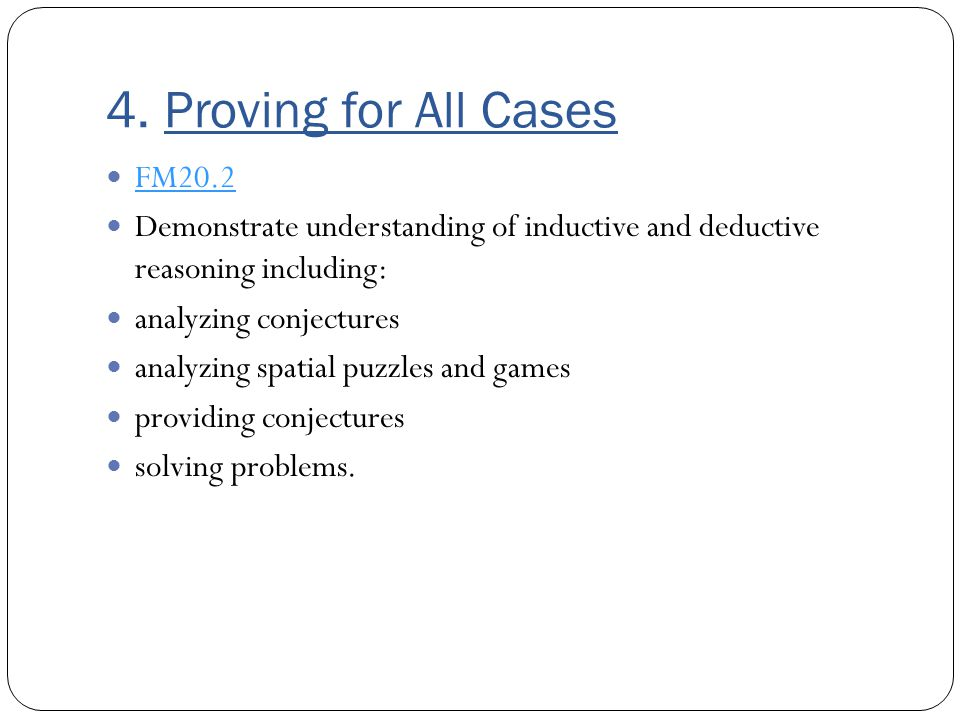 4. Proving for All Cases FM20.2