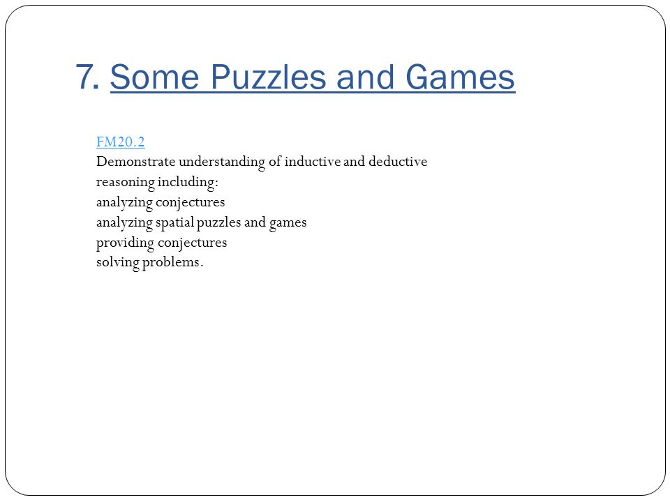 7. Some Puzzles and Games FM20.2