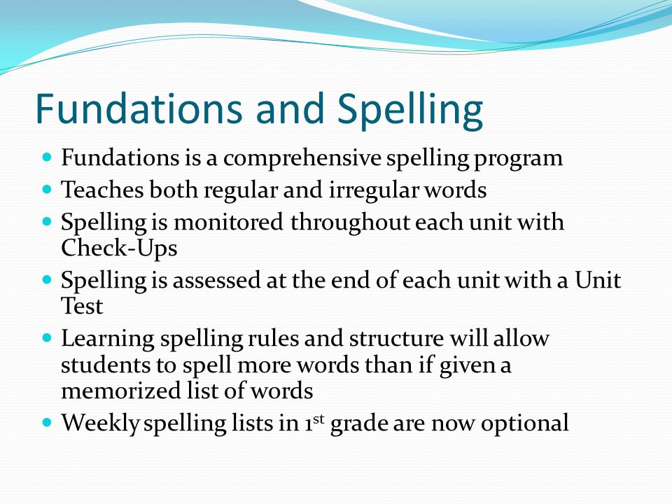 Fundations and Spelling