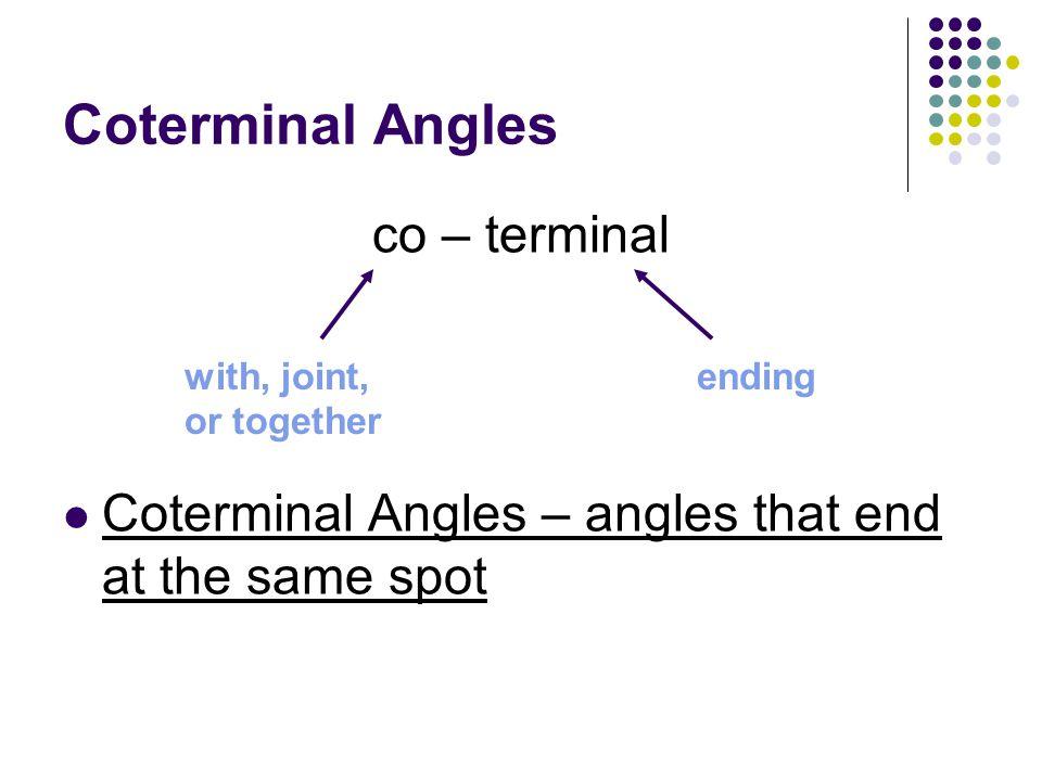Coterminal Angles co – terminal