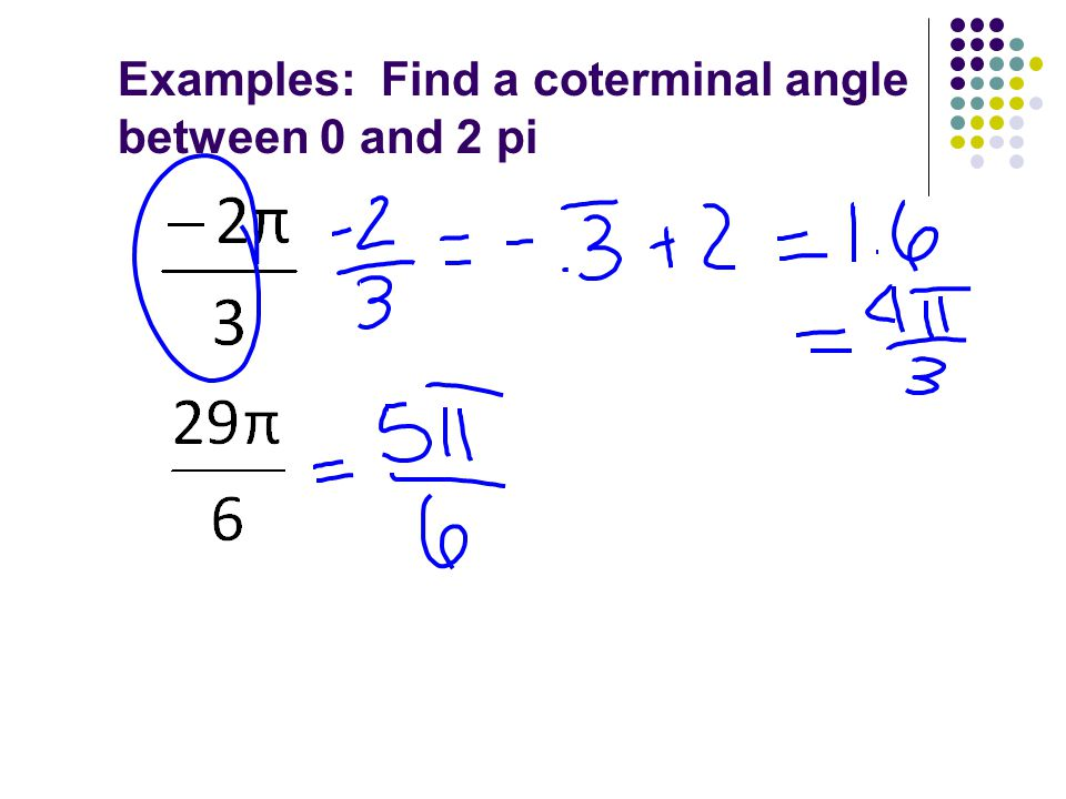 Examples: Find a coterminal angle between 0 and 2 pi