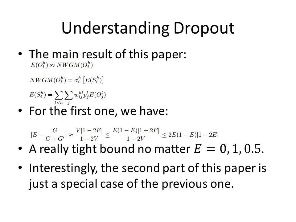 Understanding Dropout