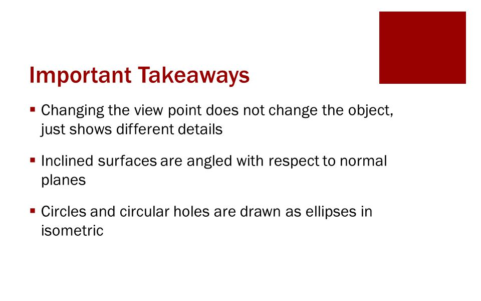 Important Takeaways Changing the view point does not change the object, just shows different details.