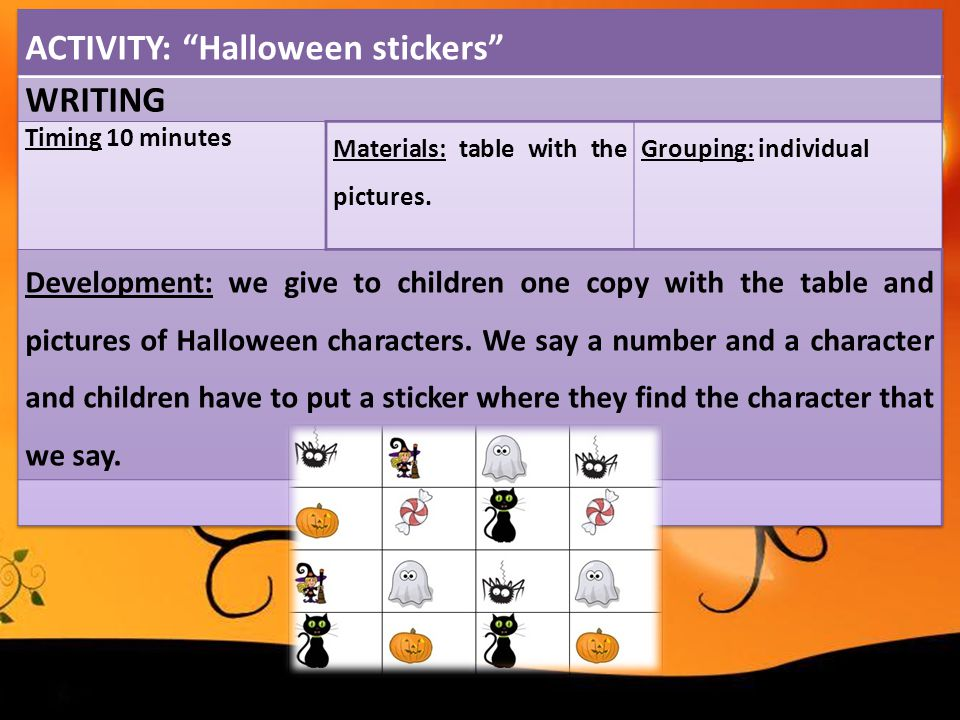 ACTIVITY: Halloween stickers WRITING