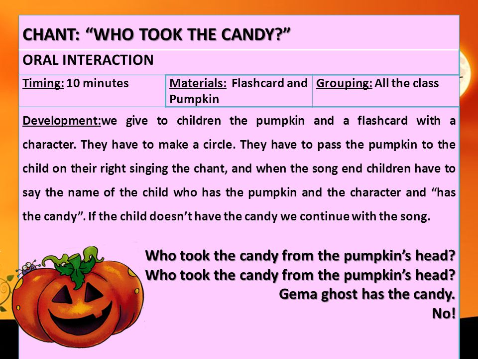 CHANT: WHO TOOK THE CANDY