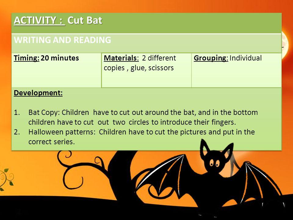 ACTIVITY : Cut Bat WRITING AND READING Timing: 20 minutes