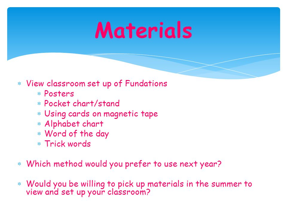 Materials View classroom set up of Fundations Posters