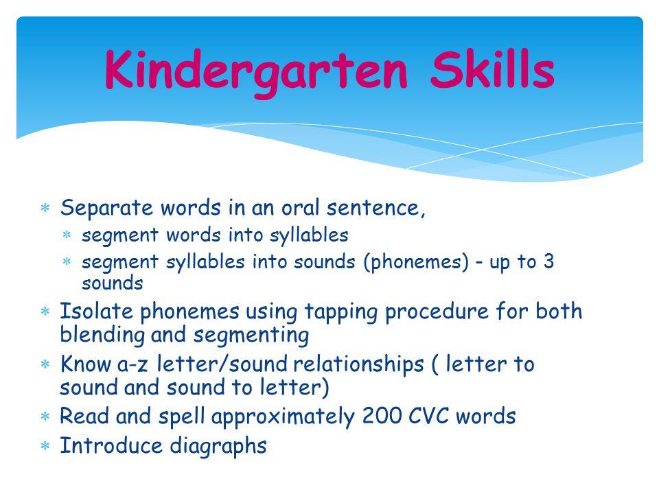 Kindergarten Skills Separate words in an oral sentence,