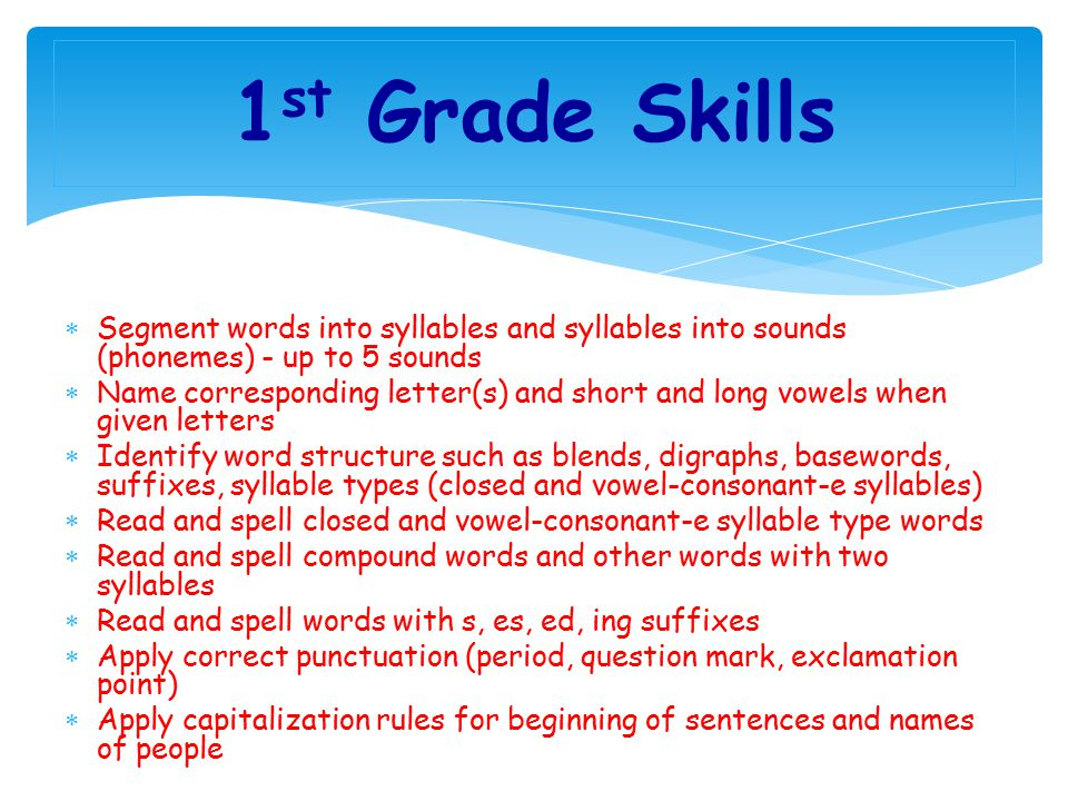 1st Grade Skills Segment words into syllables and syllables into sounds (phonemes) - up to 5 sounds.