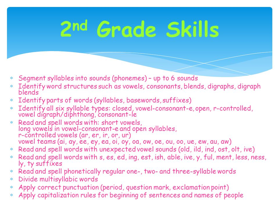 2nd Grade Skills Segment syllables into sounds (phonemes) – up to 6 sounds.