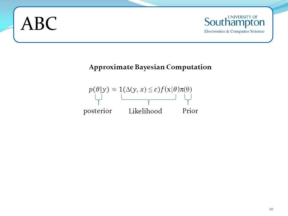 ABC Approximate Bayesian Computation 𝑝(𝜃|𝑦)≈1(∆(𝑦, 𝑥) ≤ 𝜀)𝑓(x|𝜃)π(θ)