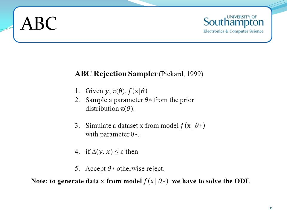 ABC ABC Rejection Sampler (Pickard, 1999) Given 𝑦, π(θ), 𝑓(x|𝜃)