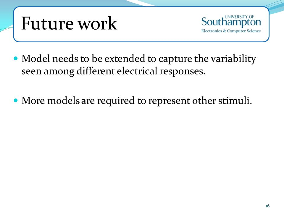 Future work Model needs to be extended to capture the variability seen among different electrical responses.