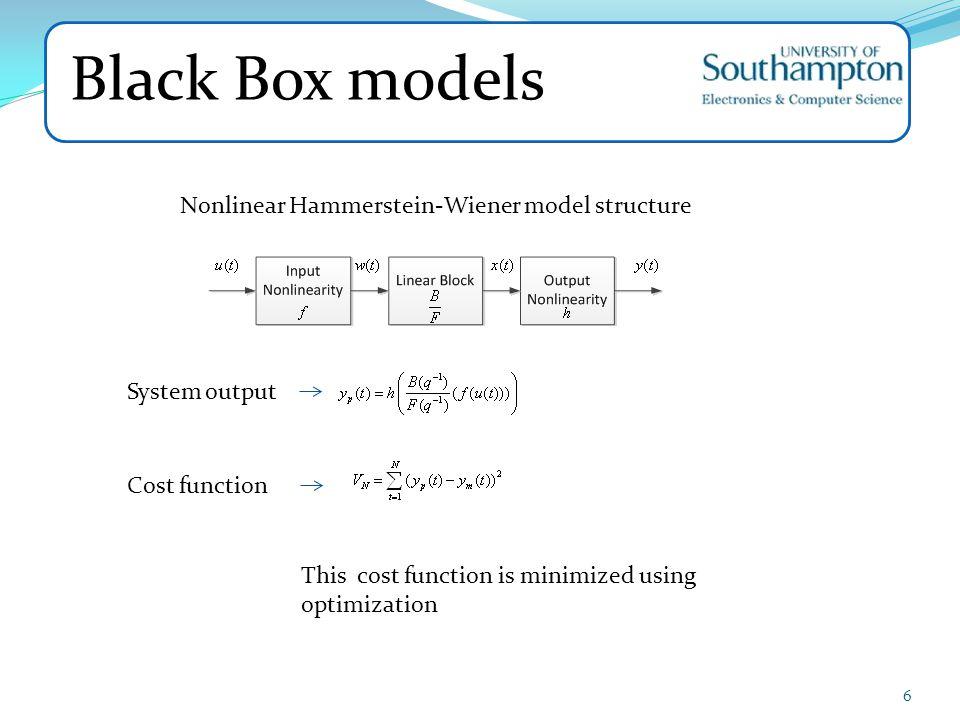 Black Box models Nonlinear Hammerstein-Wiener model structure