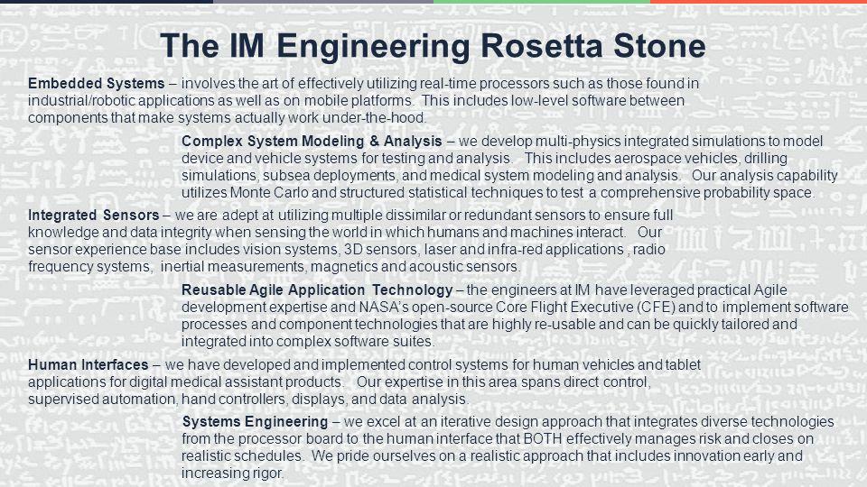 The IM Engineering Rosetta Stone