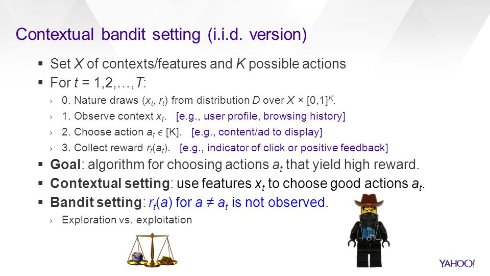 Contextual bandit setting (i.i.d. version)