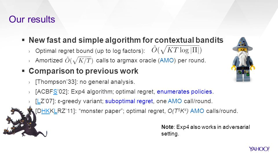 Our results New fast and simple algorithm for contextual bandits
