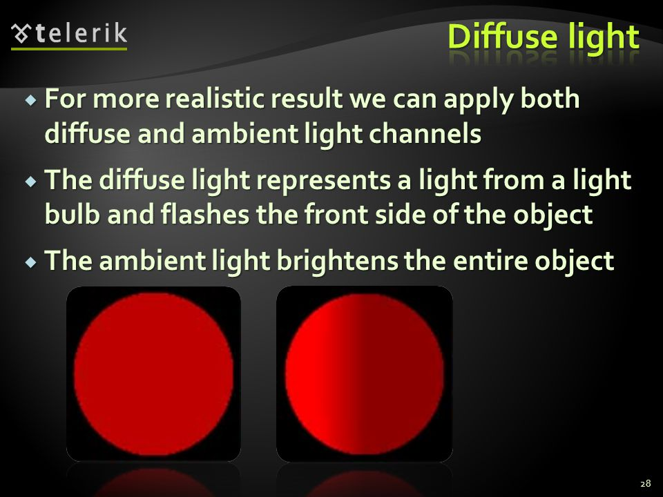 Diffuse light For more realistic result we can apply both diffuse and ambient light channels.