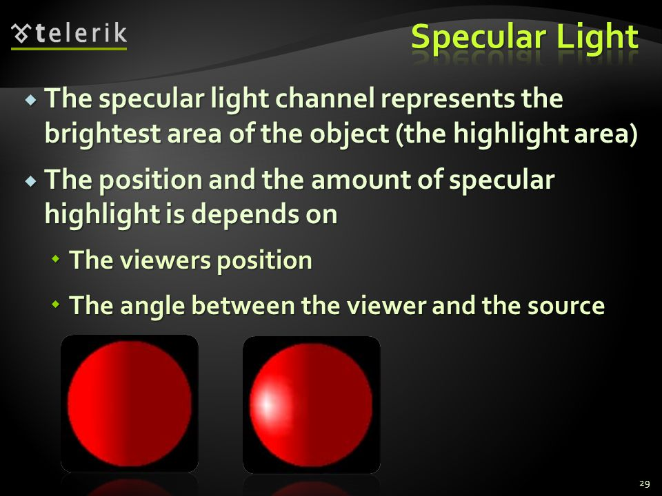 Specular Light The specular light channel represents the brightest area of the object (the highlight area)