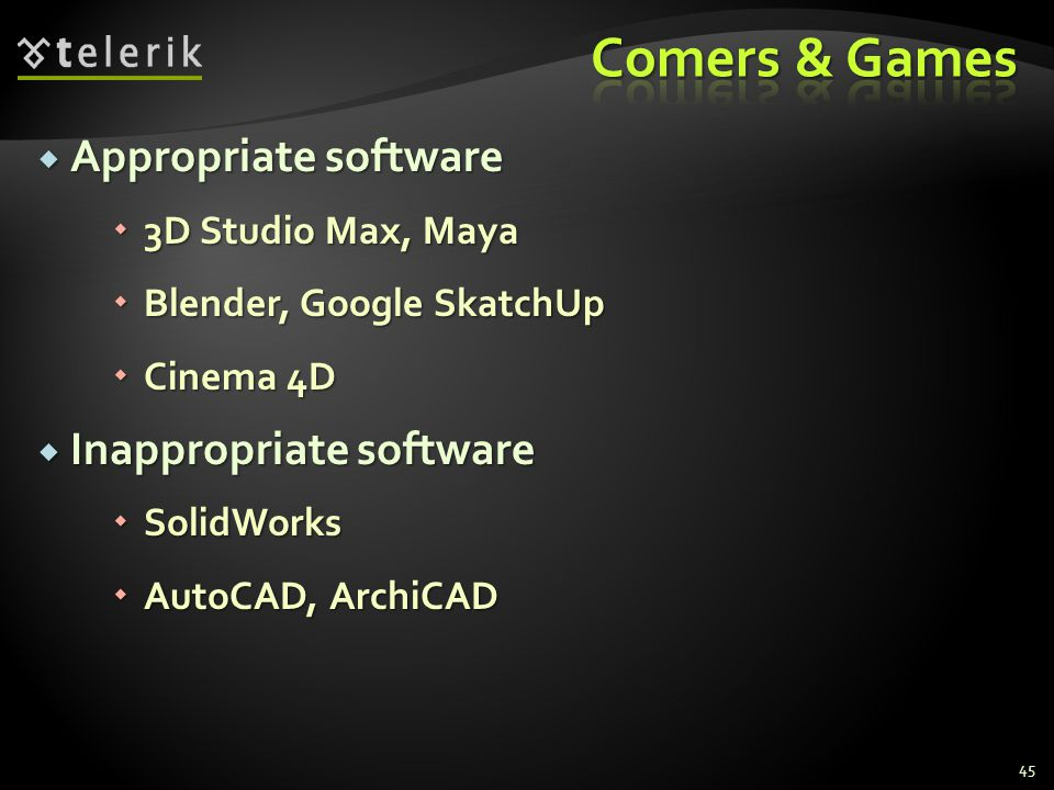 Comers & Games Appropriate software Inappropriate software