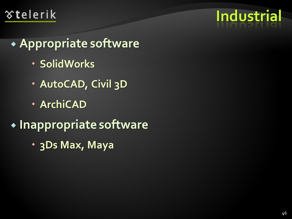 Industrial Appropriate software Inappropriate software SolidWorks