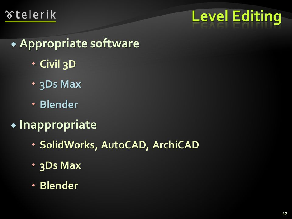 Level Editing Appropriate software Inappropriate Civil 3D 3Ds Max