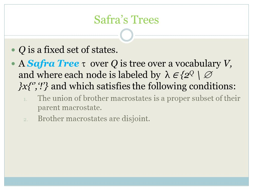 Safra's Trees Q is a fixed set of states.