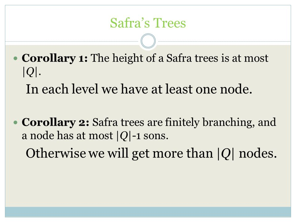 Safra's Trees In each level we have at least one node.