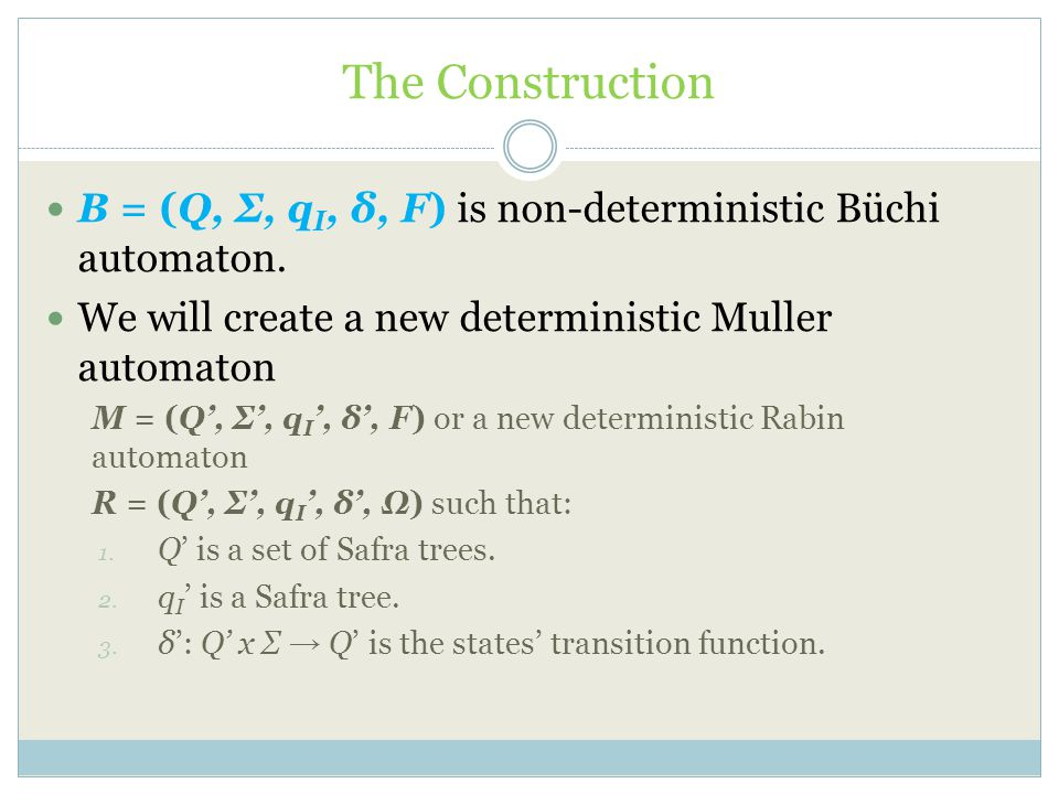 The Construction B = (Q, Σ, qI, δ, F) is non-deterministic Büchi automaton. We will create a new deterministic Muller automaton.