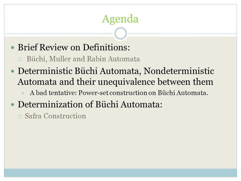 Agenda Brief Review on Definitions: