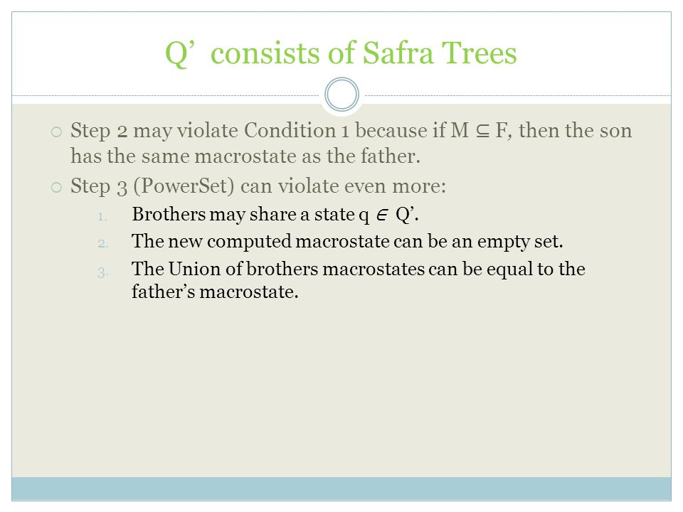 Q' consists of Safra Trees